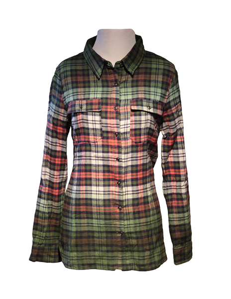 Ombre Plaid Women's Flannel Shirt