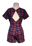 Red & Blue Plaid V-Neck Open Back Romper