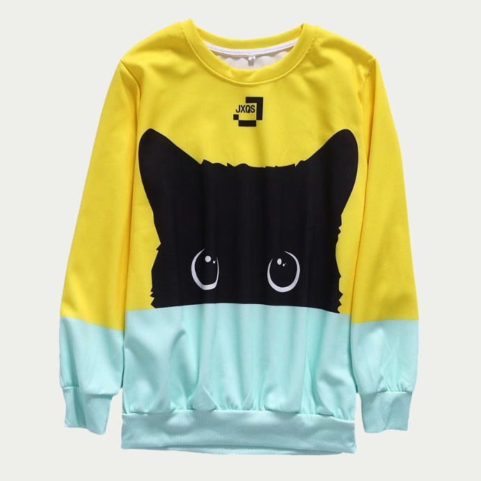 Cat Color Block Sweatshirt