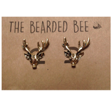 Vintage Inspired Bronzed Deer Earrings