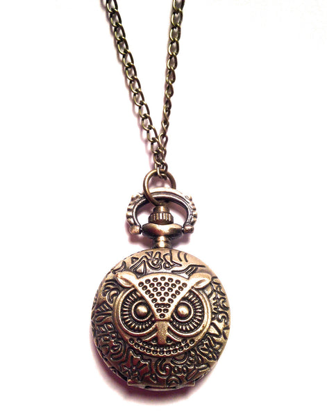 Vintage Inspired Owl Pendant Watch Necklace
