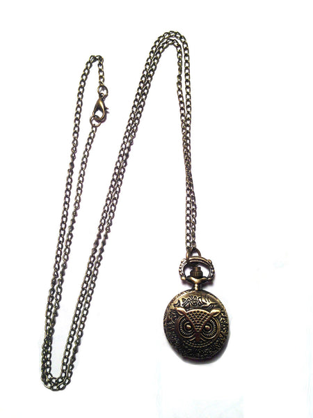 Owl Pendant Watch Necklace