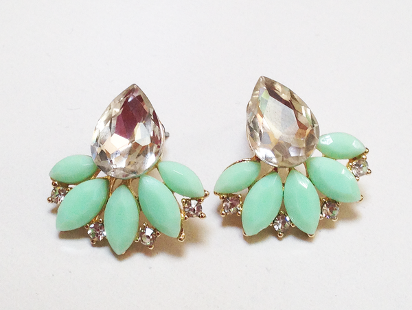 Mint Tear Drop Earrings Vintage Inspired