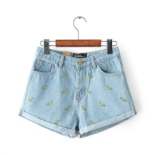 Banana Print High Waist Shorts