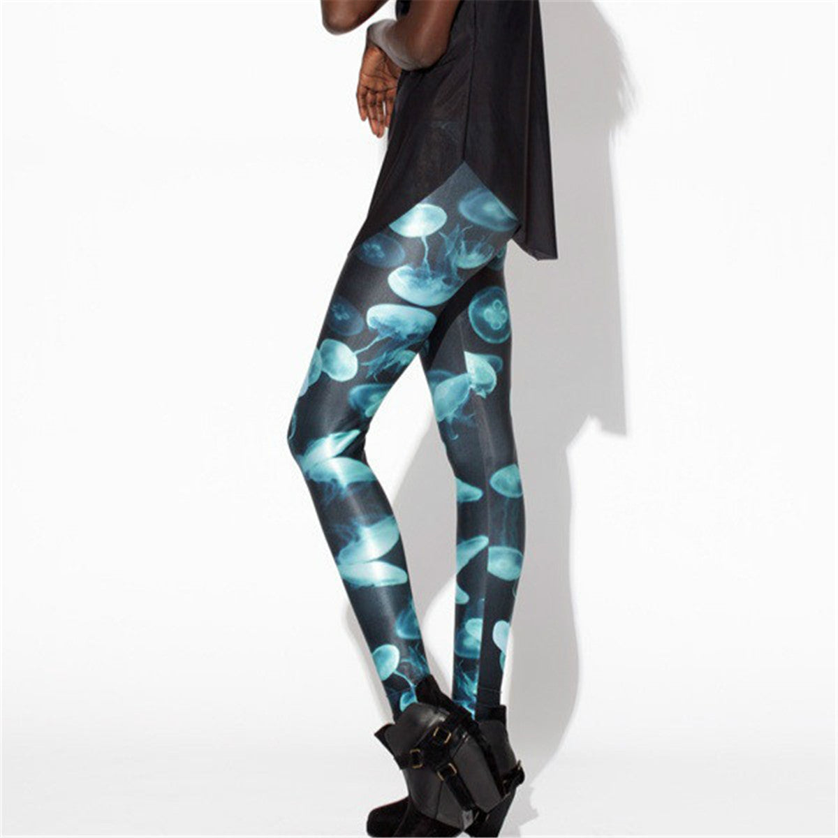 Blue Glow Jellyfish Leggings