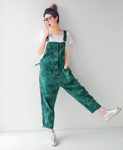 Palm Print Overalls