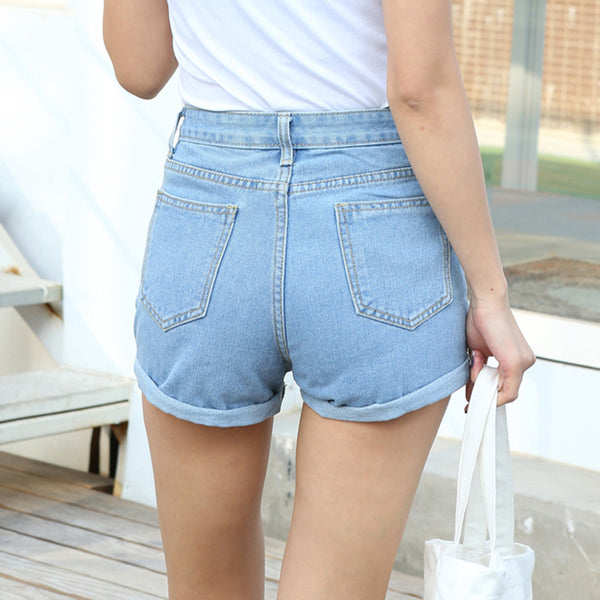 Plain Denim High Waisted Shorts
