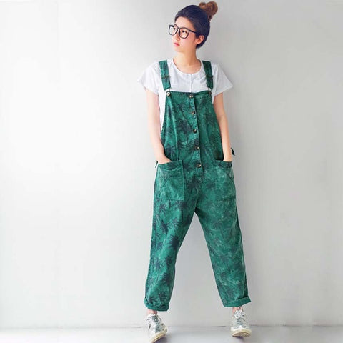 Green Palm Print Overalls