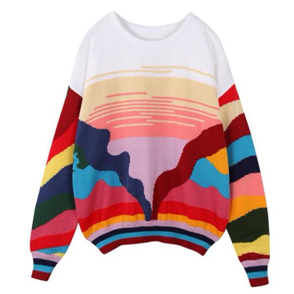 Vintage Inspired Rainbow Sweater