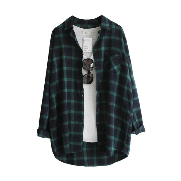 Women's Oversized Plaid Flannel Shirt
