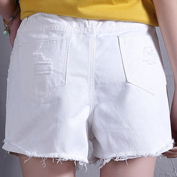 Floral Embroidery Denim Shorts