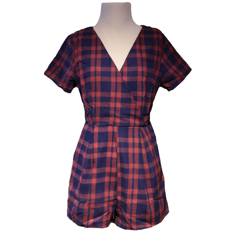 Plaid Diamond Back Romper