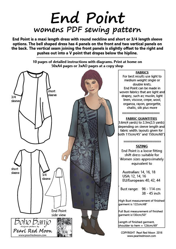 END POINT (Medium sizes) womens PDF sewing pattern
