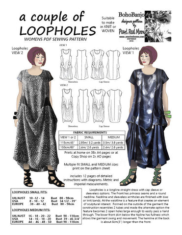 A couple of LOOPHOLES, womens PDF sewing pattern