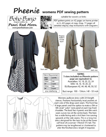 Pheenie Dress, womens PDF sewing pattern