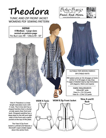 Theodora Tunic and Jacket, PDF Pattern, Large sizes