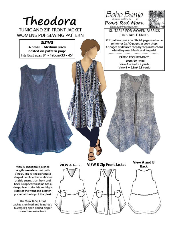 Theodora Tunic and Jacket, PDF PATTERN, Small- Med sizes