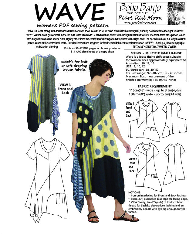 WAVE DRESS, Small size range, womens PDF sewing pattern
