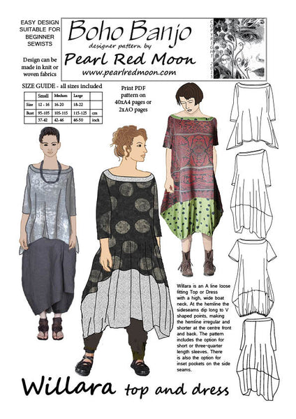 Willara Top And Dress Pdf Sewing Pattern Boho Banjo