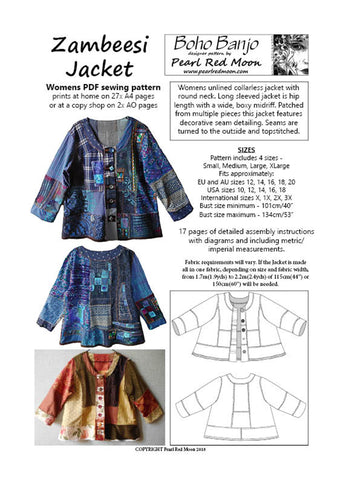 Zambeesi Jacket, womens PDF sewing pattern