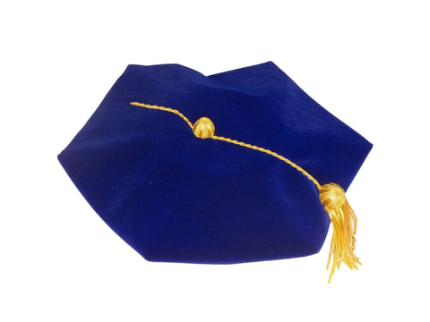 Blue Velvet Doctoral Tam. Official Academic Regalia.