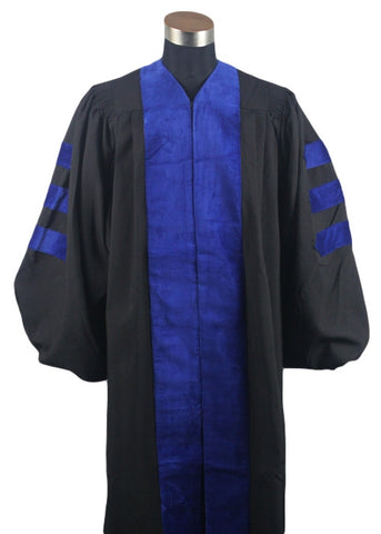 Black and Blue Doctoral Gown. Official Academic Regalia.