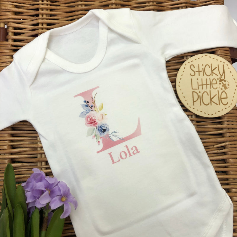 Personalised Floral Initial Baby Grow