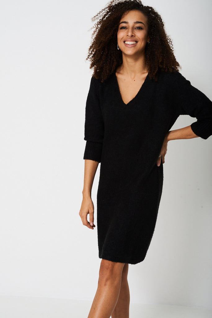 Knitted Jumper Dress In Black Ex Branded Verso Fashion
