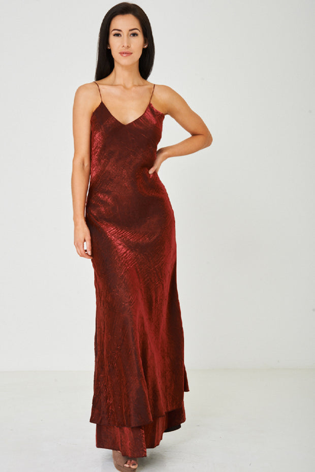 Solid Red Fishtail Maxi Dress 4729a4c47