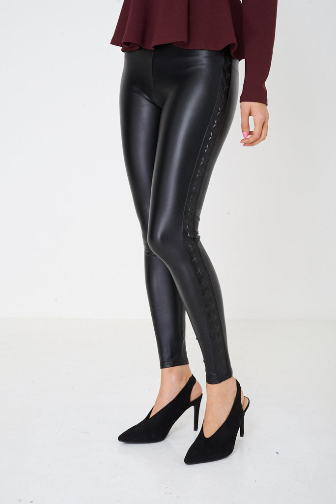 162a2a78efaf18 Leather Look Leggings with Stars Side Print – Verso Fashion