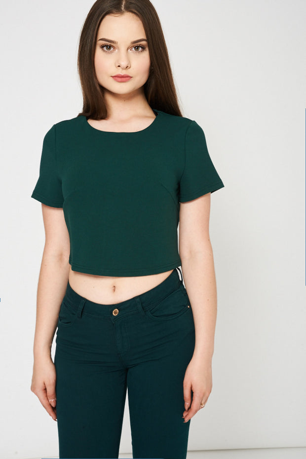 bf5e7ebed1e65 Zipper Closure Green Crop Top