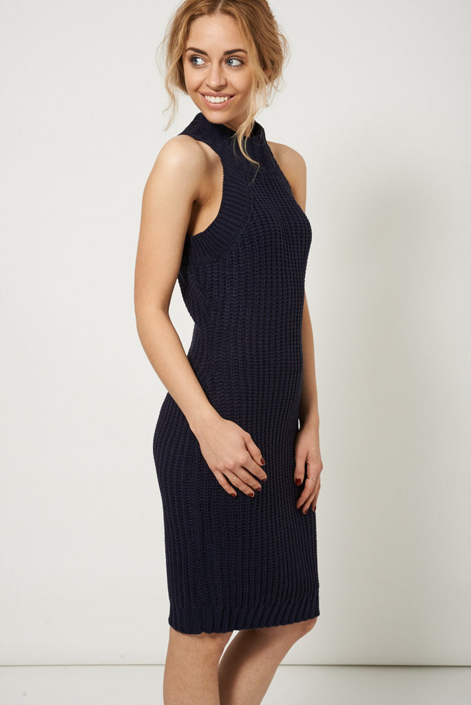 Chunky Knitted Navy Sweater Dress Verso Fashion