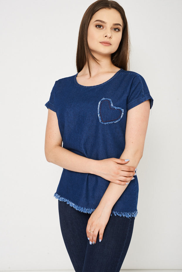ec6864122dc4c Mid Blue Denim Top With Heart Detail Ex-Branded