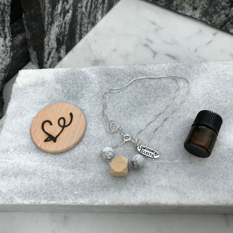 Geometrical Howlite Sterling Silver Essential Oil Delicate Diffuser Necklace --  The Marbleous Collection