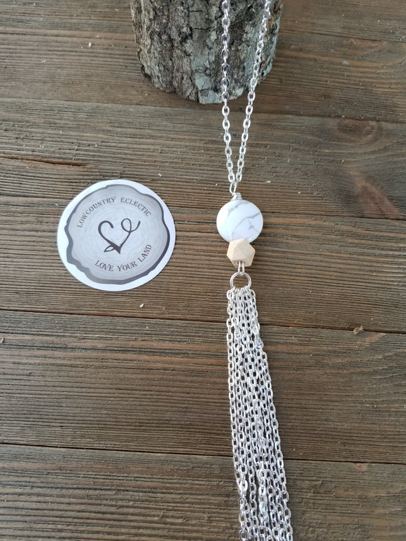 Howlite Essential Oil Diffuser Tassel Necklace--GALLERY LINE