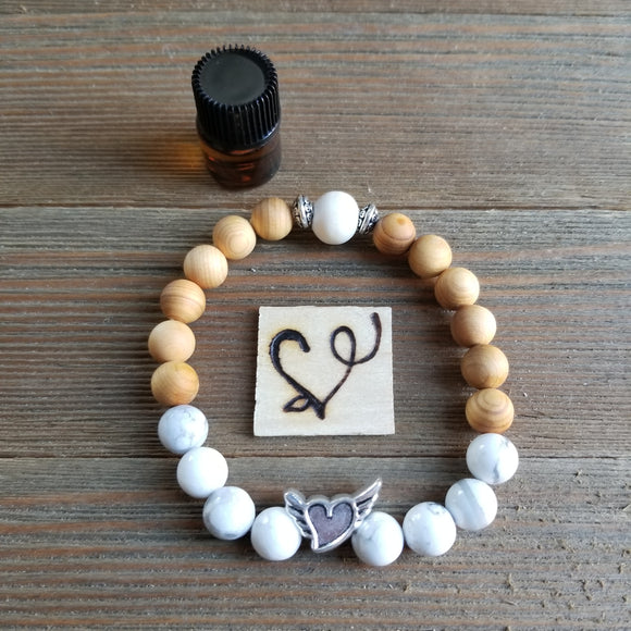 Open Heart Gemstone Essential Oil Diffuser Bracelet
