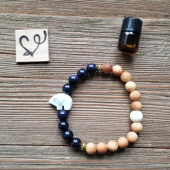 Mama Bear Gemstone Essential Oil Diffuser Bracelet-- FREE SHIPPING