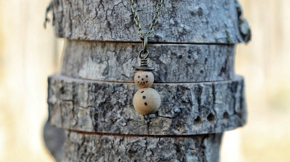 Snowman Essential Oil Diffuser Necklace -- FREE SHIPPING