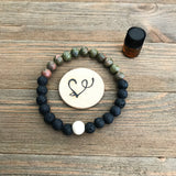 Unakite and Lava Gemstone Essential Oil Diffuser Bracelet-- FREE SHIPPING