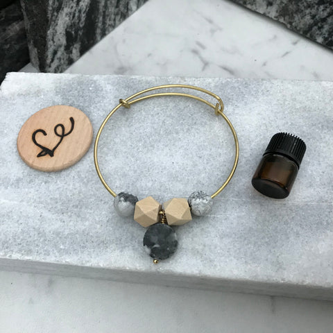 Marble and Howlite Essential Oil Diffuser Bracelet—The Marbleous Collection