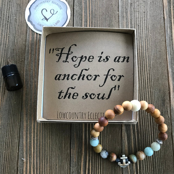 Hope Anchors the Soul Gemstone Essential Oil Diffuser Bracelet-- FREE SHIPPING