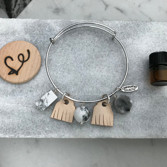 Howlite Essential Oil Diffuser Bracelet—The Marbleous Collection