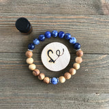 Sodalite Gemstone Essential Oil Diffuser Bracelet-- FREE STICKER