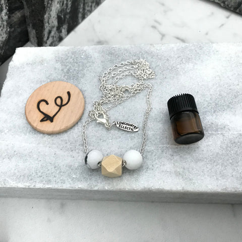Geometrical Howlite Essential Oil Diffuser Necklace -- The Marbleous Collection
