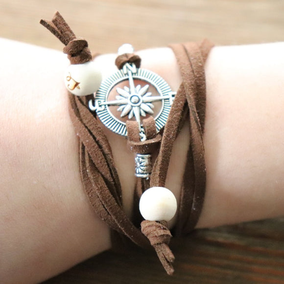Compass Easy-Wrap Essential Oil Diffuser Bracelet // FREE SHIPPING