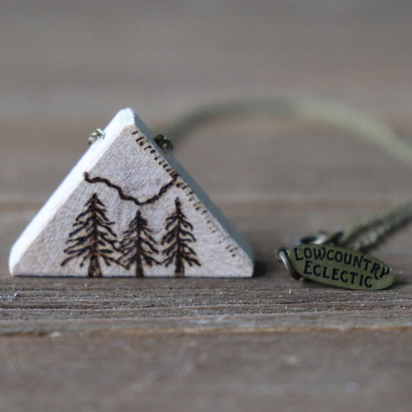 John Muir Inspired Essential Oil Diffuser Necklace Made with Untreated Wood -- GALLERY LINE
