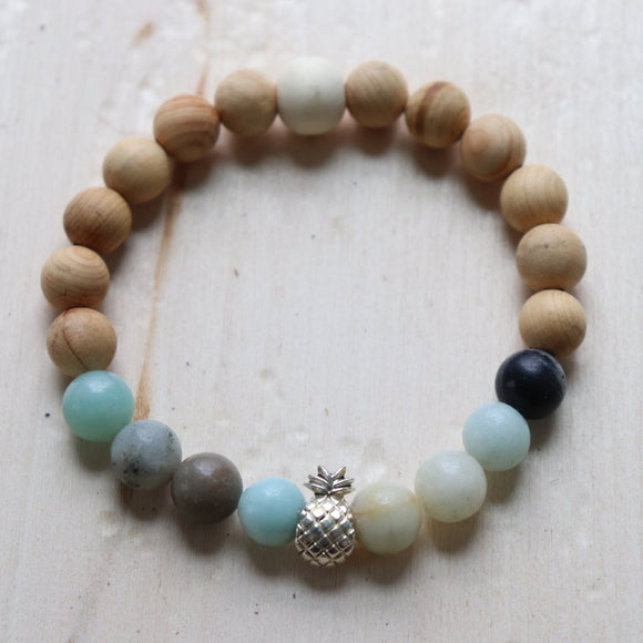 Pineapple Gemstone Essential Oil Diffuser Bracelet
