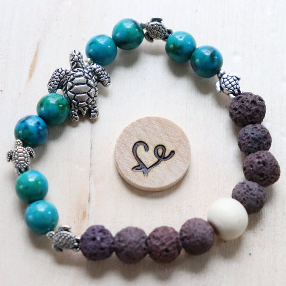 Turtle Mama Gemstone Essential Oil Diffuser Bracelet
