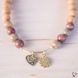 Fox and Flower Dainty Diffuser Essential Oil Bracelet