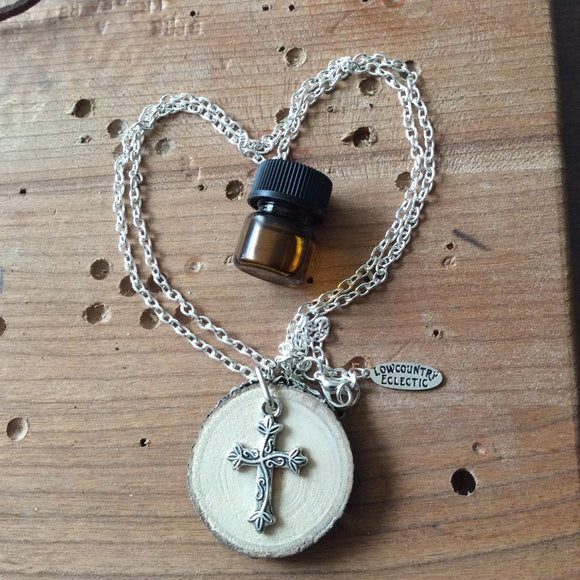 Cross Essential Oil Diffuser Necklace Made with Untreated Wood -- FREE SHIPPING